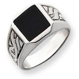 Men's Onyx Ring 14k White Gold Y4016OX