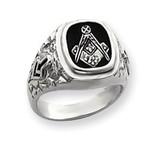 Diamond men's masonic ring 14k White Gold Y4036AAA