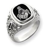 Diamond men's masonic ring 14k White Gold Y4036MAA