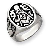 Men's Masonic Ring 14k White Gold Y4042M