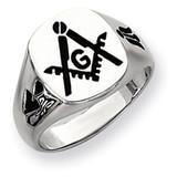 Men's Masonic Ring 14k White Gold Y4048M