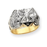 Diamond men's masonic ring 14k Two-Tone Gold Y4049A