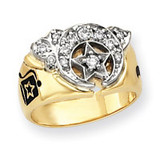 Diamond men's masonic ring 14k Two-Tone Gold Y4053A