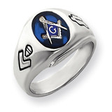 Men's Masonic Ring 14k White Gold Y4059M