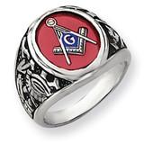 Men's Synthetic Ruby Masonic Ring 14k White Gold Y4071M