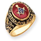 Men's Synthetic Ruby Masonic Ring 14k Gold Y4072M