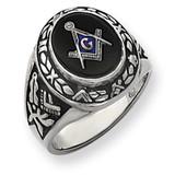 Men's Masonic Ring 14k White Gold Y4073M