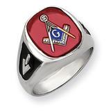 Men's Synthetic Ruby Masonic Ring 14k White Gold Y4081M