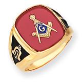 Men's Synthetic Ruby Masonic Ring 14k Gold Y4082M