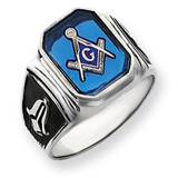 Men's Masonic Ring 14k White Gold Y4087M