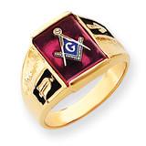 Men's Synthetic Ruby Masonic Ring 14k Gold Y4092M