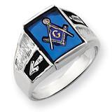 Men's Masonic Ring 14k White Gold Y4093M