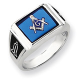 Men's Masonic Ring 14k White Gold Y4109M
