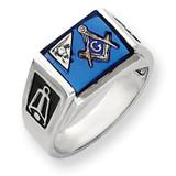 Diamond Men's Masonic Ring 14k White Gold Y4111MAA