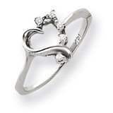 Diamond heart ring 14k White Gold Y4171AA