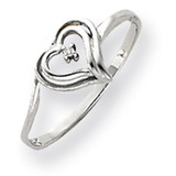 Diamond Heart Ring 14k White Gold Y4178AA