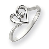 Diamond heart ring 14k White Gold Y4184AA