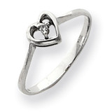 Diamond heart ring 14k White Gold Y4186AA