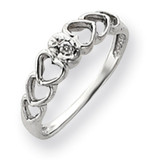 Diamond heart ring 14k White Gold Y4188AA