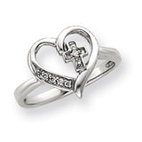 0.04ct Diamond Heart Ring Mounting 14k White Gold Y4215