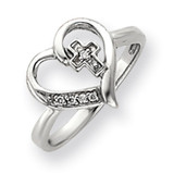 Diamond heart ring 14k White Gold Y4215AA