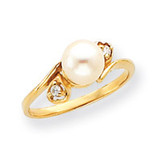 7mm Cultured Pearl Diamond ring 14k Gold Y4304PL/AA