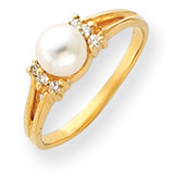 6mm Cultured Pearl Diamond ring 14k Gold Y4310PL/AA