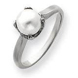6mm Cultured Pearl ring 14k White Gold Y4312PL