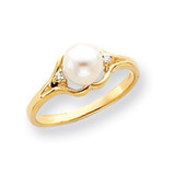 6mm Cultured Pearl Diamond ring 14k Gold Y4337PL/AA