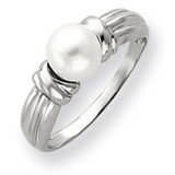 6mm Cultured Pearl Ring 14k White Gold Y4357PL