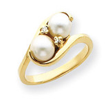 6mm Cultured Pearl & .03ct. Diamond Ring Mounting 14k Gold Y4366