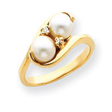 6mm Cultured Pearl Diamond ring 14k Gold Y4366PL/AA