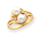 4.5mm Cultured Pearl Diamond ring 14k Gold Y4373PL/AA