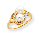 4mm Cultured Pearl Diamond ring 14k Gold Y4375PL/AA