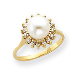 7.5mm Cultured Pearl & .26ct. Diamond Ring Mounting 14k Gold Y4378