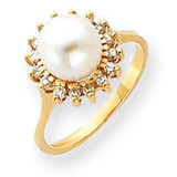 7.5mm Cultured Pearl Diamond ring 14k Gold Y4378PL/AA