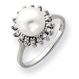7.5mm Cultured Pearl Diamond Ring 14k White Gold Y4379PL/AA