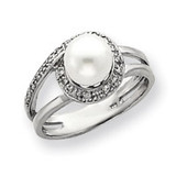 7.5mm Cultured Pearl & .09ct. Diamond Ring Mounting 14k White Gold Y4380