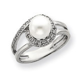 7.5mm Cultured Pearl Diamond ring 14k White Gold Y4380PL/AA