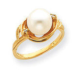 7.5mm Cultured Pearl Diamond ring 14k Gold Y4382PL/AA