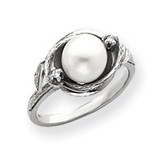 7.5mm Cultured Pearl & .02ct. Diamond Ring Mounting 14k White Gold Y4383