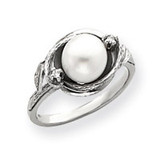7.5mm Cultured Pearl Diamond ring 14k White Gold Y4383PL/AA