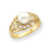 6mm Cultured Pearl & .11ct. Diamond Ring Mounting 14k Gold Y4384