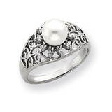 6mm Cultured Pearl & .11ct. Diamond Ring Mounting 14k White Gold Y4385