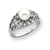 6mm Cultured Pearl Diamond ring 14k White Gold Y4385PL/AA