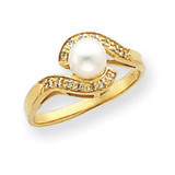 5.5mm Cultured Pearl Diamond ring 14k Gold Y4386PL/AA