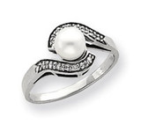 5.5mm Cultured Pearl & .06ct. Diamond Ring Mounting 14k White Gold Y4387