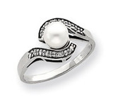 5.5mm Cultured Pearl Diamond ring 14k White Gold Y4387PL/AA
