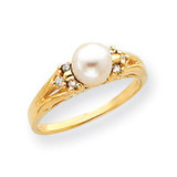 6mm Cultured Pearl Diamond ring 14k Gold Y4388PL/AA