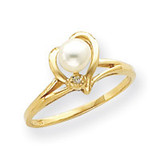 4.5mm Cultured Pearl & .004ct. Diamond Ring Mounting 14k Gold Y4394